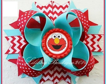 Aqua & Red Chevron Elmo Inspired Boutique Layered Hair Bow, Boutique Bow