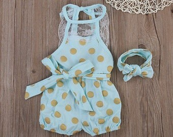 Blue lace polka dot romper