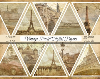 Paris Digital Papers, commercial use, scrapbook papers, vintage travel papers, France paper old papers, instant download, scrapbooking