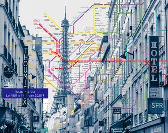 Paris Metro on Metallic Paper