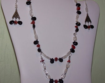 Red Coral and Crystal Quartz Double Strand Necklace Set
