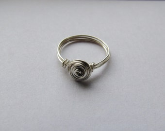 Silver Rosette Swirl Ring, Wire Wrapped Ring, Silver Rose Ring, Simple Ring, Dainty Ring, Rosette Ring, Custom Size Ring