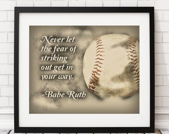 Baseball Print, Babe Ruth Quote, Poster, Home Gym Decor, Sports Decor, Man Cave Art, Office Decor, Baseball Gift, Christmas Gifts for Him
