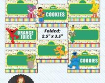 Digital Printable Sesame Street Food Label/ Table Tent - Instant Download