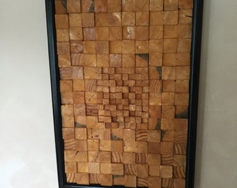 wood block wall art