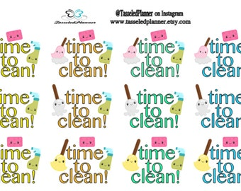 Time to Clean Planner Stickers/Cleaning Planner Stickers/Planner Stickers