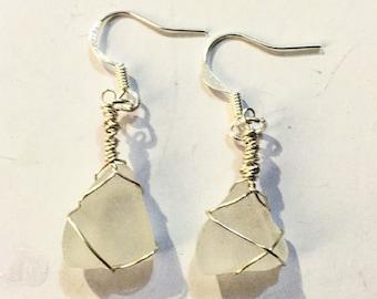 Clear sea glass drop earrings