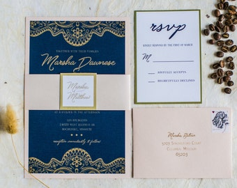 Gold Tapestry Invitation Suite (starting at 5.20 ea)