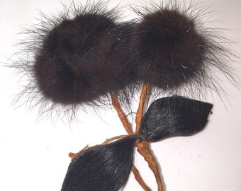Mink Fur Flower Pin Broach