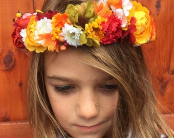 Fall Head Wreath, Bohemian Crown, Flower Crown, Floral Crown, Flower Halo, Boho Head Wreath, Fall Flower Crown, Fall Floral Crown
