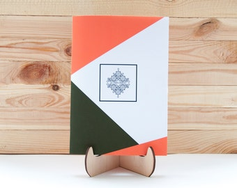 Sketchbook with unlined paper Triangle #4 (orange and green) series GEOMETRICAL