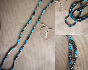 Gemstone Hematite and turquoise necklace