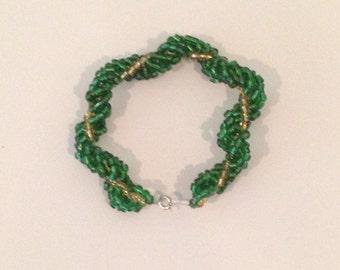 green and gold spiral bracelet