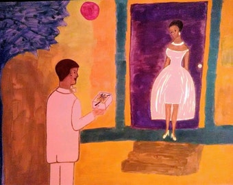 Back Porch Prom Night -Painting,Mixed Media, Abstract Expressionism,Art Deco