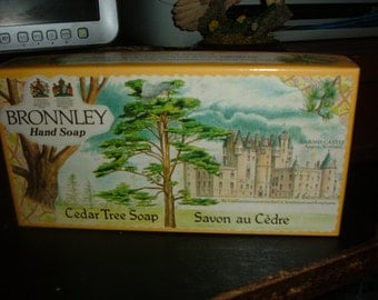 vintage bronnley cedar tree soap. still sealed in shrink wrap.