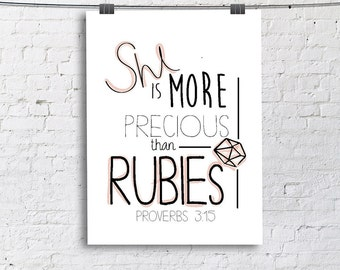 She Is More Precious Than Rubies- Proverbs 3:15 Large Art Print, Living Room Fine Art Print, Vertical Modern Art