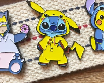 Pokemon Soft Enamel Pin / Disney Soft Enamel Pin - Stitch Enamel Pin & Pikachu Enamel Pin Mashup / Enamel Hat Pin