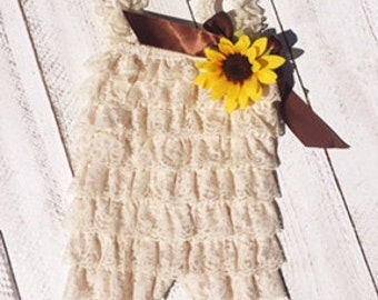 Beige Romper with Sunflower pin