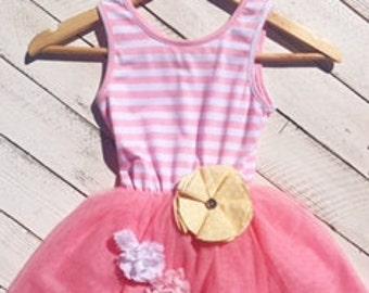Pink Stripe tutu dress