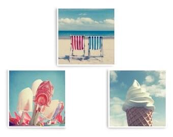 Coastal Wall Art, Coastal Decor, Seaside Wall Art, Pastel Wall Art, Set of 3 Prints, Beach House Decor, Square Art Prints, Beach Art Print