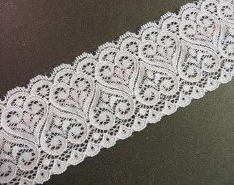 3m white elastic lace width 6cm heart