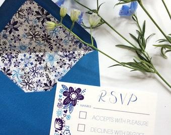 Personalised Wedding RSVP Blue Floral Custom Made Wedding Stationary