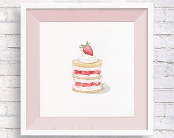 Strawberry Delight Dessert Watercolor Print