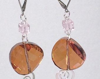 Swarovski Twisted and Swirled Earrings in Crystal Copper