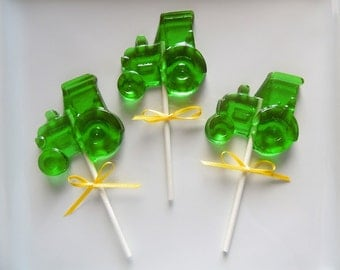 10 Tractor Lollipops John Deere Farm Birthday Party Favors Candy