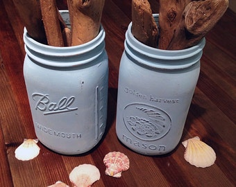 Mason Jars in Distressed Ocean Blue