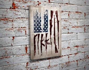 Gun Flag Canvas Print Wall Art - Home Decor