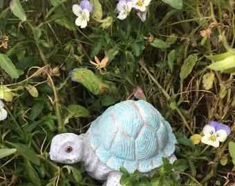 Hand Painted Concrete Turtle Tortoise Statue, Garden Stone, Ornament
