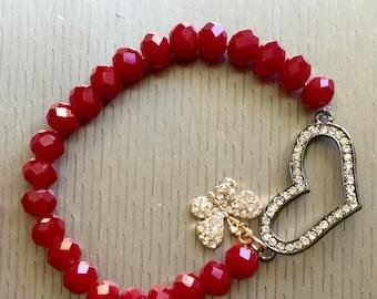 Butterfly heart beaded bracelet