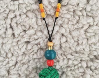 Green Monkey Fist Knot Necklace