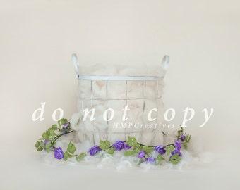 White Basket with Purple Flowers Newborn Digital Backdrop