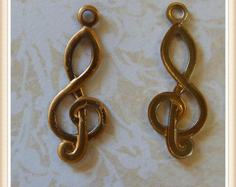 raw brass g clef music charm E0007