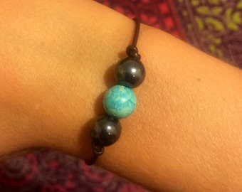 Turquoise and black beaded leather bracelet, fresh water pearl bracelet