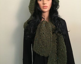 Knitted Green Hooded Wrap