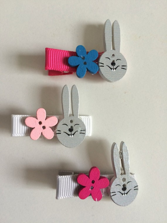 Bunny and Flower Hair Slides - Set of Three