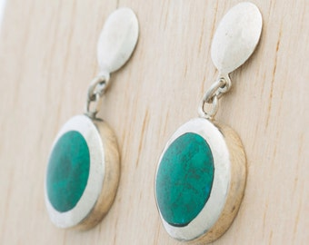 Chrysocolla Drops | 950 Sterling Silver Earrings by Platafina | Handcrafted by Peruvian Artisans