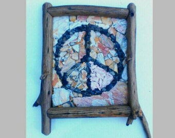 Peace sign mosaic on driftwood frame Colourful Slate stone decoration deco