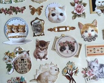 Korea deco stickers - Sonia - cat, kitty, flower, butterfly, vintage