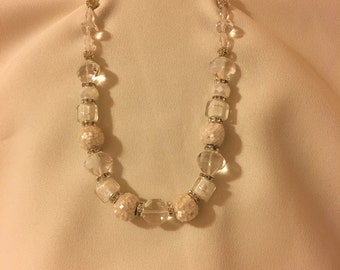 Crystal and White One Size Fits All Necklace. S64