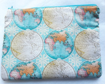 Globe Clutch Bag, Globe bag,Map of the world pouch, Zippered clutch bag