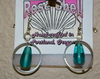 Teal Glass Tear Drop Earrings