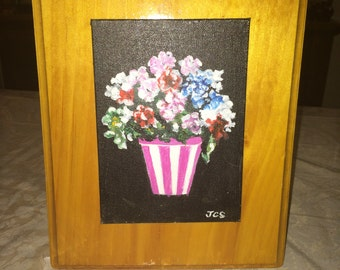 Flower Bouquet in Striped Holder