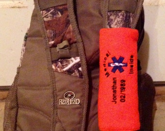 Seat Belt 911 - ID or Emergency Info wrap/cover (Hand-made & Personalized)