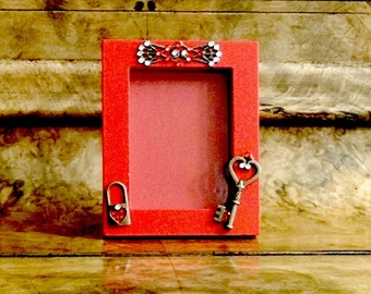 SALE***Red Wood Picture Frame With Metal Accent Heart Lock, Skeleton Key and Rhinestones