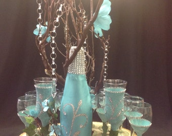 Enchanted forest champagne glass toasting set