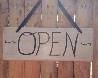 Double sided Open and Close sign, Business sign, Custom made sign, White wash sign, Signs, Wood signs